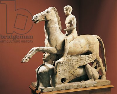 Italy, Calabria, Locri, Sculpture representing a naked knight and horse over a Sphinx, from the Temple of Zeus